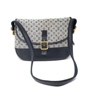 Auth Louis Vuitton Denim and Leather Crossbody Bag